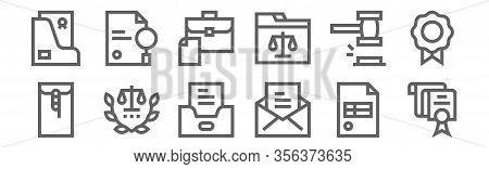 Set Of 12 Legal Document Icons. Outline Thin Line Icons Such As Document, Letter, Legal, Hammer, Bri
