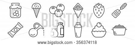 Set Of 12 Gastronomy Collection Icons. Outline Thin Line Icons Such As Stew, Thermos, Oil, Strawberr