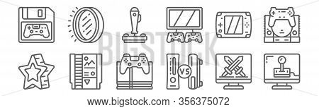 Set Of 12 Gaming Icons. Outline Thin Line Icons Such As Video Game, Comparison, Game Cartridge, Game