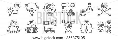 Set Of 12 Brand Positioning Icons. Outline Thin Line Icons Such As Success, Specification, Value, Ta