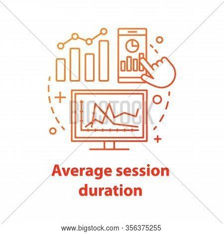 Average Session Duration Concept Icon. Web Analytics Idea Thin Line Illustration. Website Traffic. S