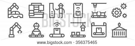 Set Of 12 Mass Producction Icons. Outline Thin Line Icons Such As Container, Conveyor, Conveyor, Con