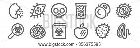 Set Of 12 Virus Icons. Outline Thin Line Icons Such As Cholera, Food, Prion, Plasmid, Lethality, Pro