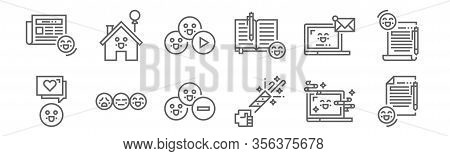 Set Of 12 Happiness Icons. Outline Thin Line Icons Such As As, Party Popper, Rating, Email, Play But