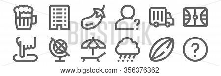 Set Of 12 Miscellaneous Icons. Outline Thin Line Icons Such As Question, Hail, Earth Globe, Truck, E