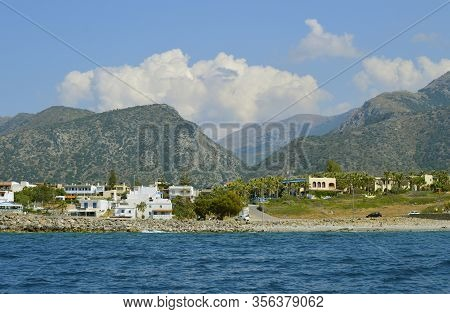 Sissi Crete, Greece - June 11, 2019 : Sissi Coastal Town In Crete The Largest And Most Populated Of