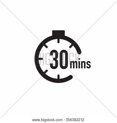 30 Minutes Timer, Stopwatch Or Countdown Icon. Time Measure. Chronometr Icon. Stock Vector Illustrat