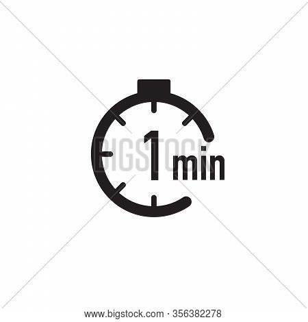 1 Minute Timer, Stopwatch Or Countdown Icon. Time Measure. Chronometr Icon. Stock Vector Illustratio