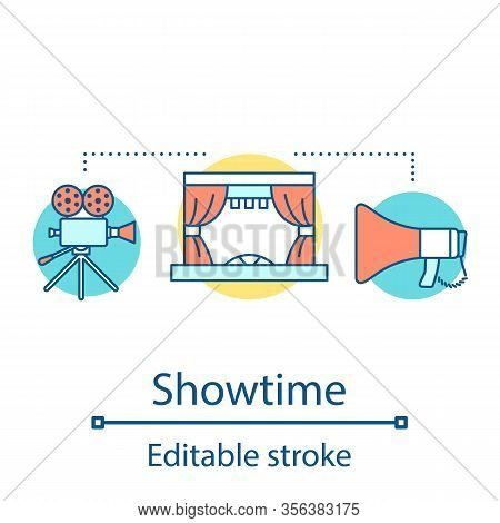 Showtime Concept Icon. Theatre Spectacle. 3d Film Cinema Premiere. Society Entertainment Audience. M