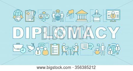 Diplomacy Word Concepts Banner. Communication, Public Speaking Skills. Negotiations. Corporate Envir