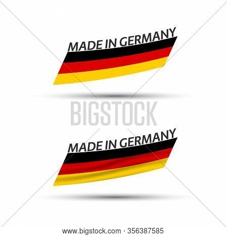 Set Of Two Modern Colored Vector Flags With German Tricolor Isolated On White Background, Flag Of Ge