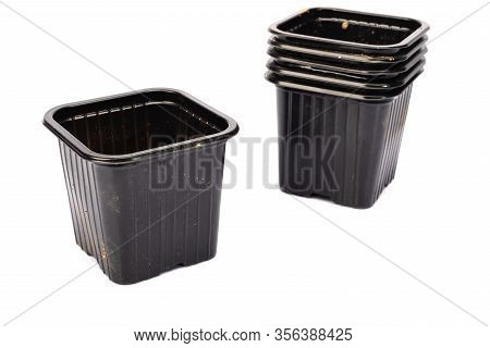 Used Black Plastic Gardening Bucket