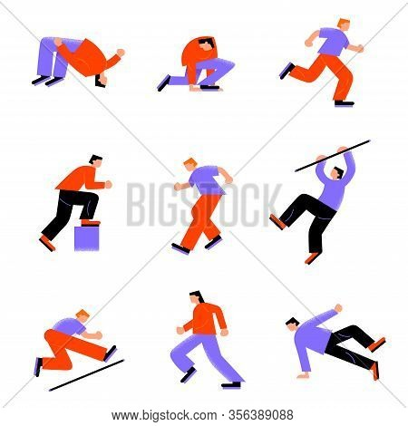 Set Of Various Parkour Young Men Running And Jumping In Different Action Poses. Vector Illustration
