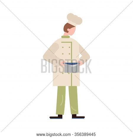 Chef-cook Male Character Holding A Meal In A Silver Saucepan. Vector Illustration In Flat Cartoon St