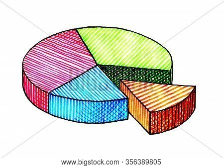 Freehand Isometric Ink Pen Drawing Of A Pie Chart With Four Distinct Sectors In Green, Red, Blue And