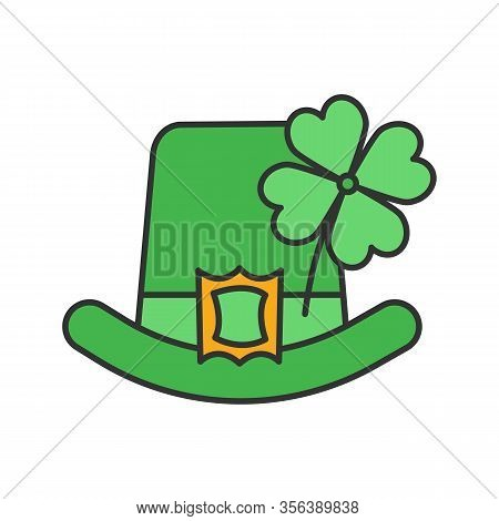 Saint Patricks Day Color Icon. March 17th. Leprechaun Hat With Four Leaf Clover. Isolated Vector Ill