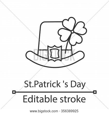 Saint Patricks Day Linear Icon. Thin Line Illustration. March 17th. Leprechaun Hat With Four Leaf Cl