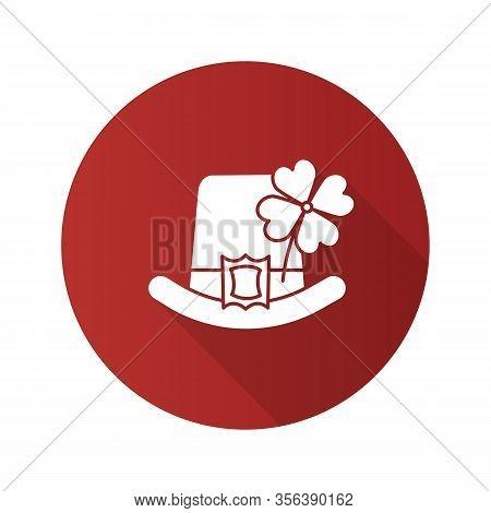 Saint Patricks Day Flat Design Long Shadow Glyph Icon. March 17th. Leprechaun Hat With Four Leaf Clo