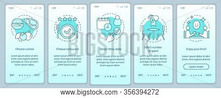 Restaurant Onboarding Mobile App Page Screen Vector Template. Event Diner Guest In Cafe. Coulsine Me