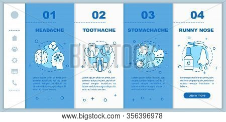 Sicknesses Onboarding Mobile App Page Screen Vector Template. Headache, Toothache, Stomachache, Runn