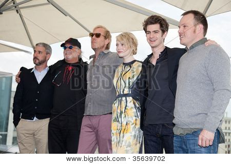MOSCOW, RUSSIA-JUNE 15: Emma Stone, Andrew Garfield, Marc Webb and film crew.  Premiere of the movie