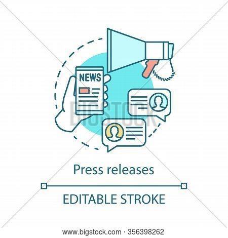Press Release Concept Icon. Internet Marketing Idea Thin Line Illustration. Promotion. Advertising C