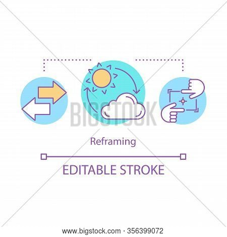 Cognitive Reframing Concept Icon. Mental Health Idea Thin Line Illustration. Positive Thinking. Mind
