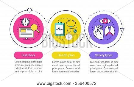 Medical Diagnosis Vector Infographic Template. Fast Check, Health Plan, Variety Types. Data Visualiz