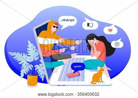 Cyber Bullying In Social Networks And Online Abuse Concept. Vector Flat Cartoon Illustration Of Upse