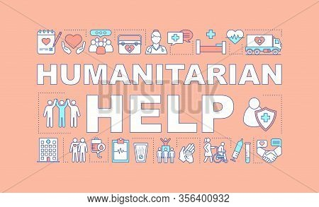Humanitarian Help Word Concepts Banner. Volunteering. Presentation, Website. Charitable Foundation.