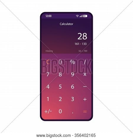 Calculator Smartphone Interface Vector Template. Mobile Math App Page Purple Design Layout. Basic Ar