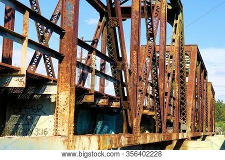 March 18, 2020 In Whittier, Ca:  Steel Trestles On A Railroad Bridge Built In 1901 Taken At The San