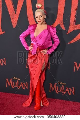 LOS ANGELES - MAR 09:  Christina Aguilera arrives for 'Mulan' World Premiere on March 09, 2020 in Hollywood, CA