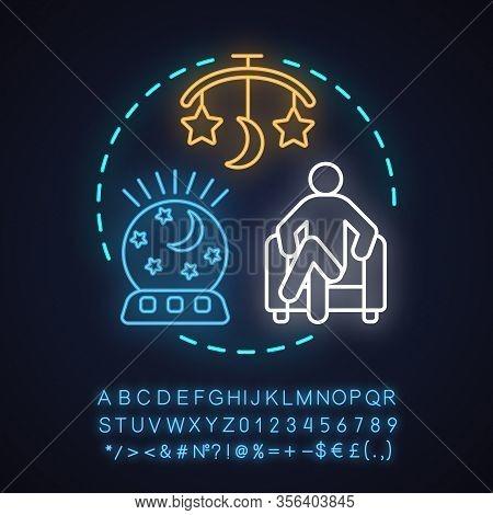 Night, Evening Babysitting Neon Light Concept Icon. Child, Newborn, Infant Care Idea. Nanny, Babysit