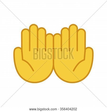 Cupped Hands Color Icon. Palms Up Together Emoji. Begging Gesturing. Islam Praying Hands. Isolated V