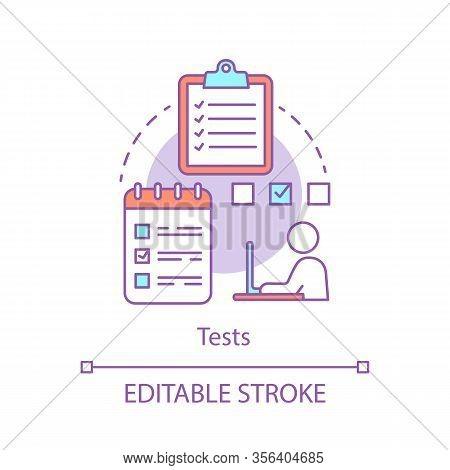 Tests Concept Icon. Examination Paper Idea Thin Line Illustration. Student Takes Exam At School, Uni
