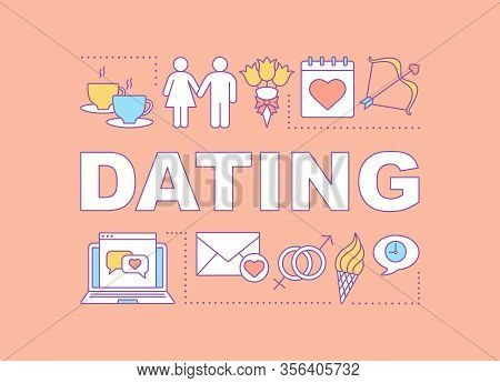 Dating Word Concepts Banner. Fall In Love. Couple Matchmaking. Go On Date. Internet Flirt. Presentat