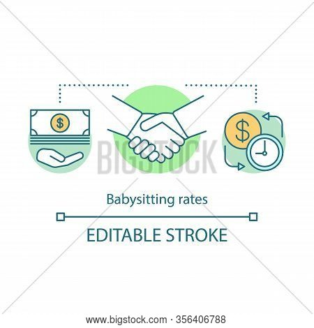 Babysitting Rates Concept Icon. Business Agreement, Contract, Hourly Pay. Saving Money Idea Thin Lin