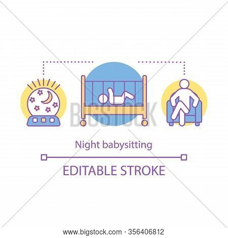Night Babysitting Concept Icon. Childcare Any Time Idea Thin Line Illustration. Child Care Assistanc