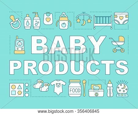 Baby Products Concepts Banner. Presentation, Website. Feeding Bottle, Kids Toiletry, Radio Nanny. Ch