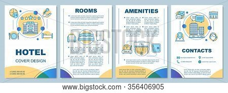 Hotel Brochure Template Layout. Rooms Amenities, Services. Flyer, Booklet, Leaflet Print Design With