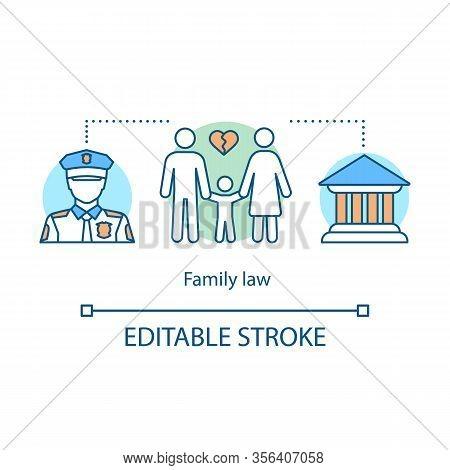Family Law Concept Icon. Court Idea Thin Line Illustration. Adoption, Divorce, Legal Separation, Chi