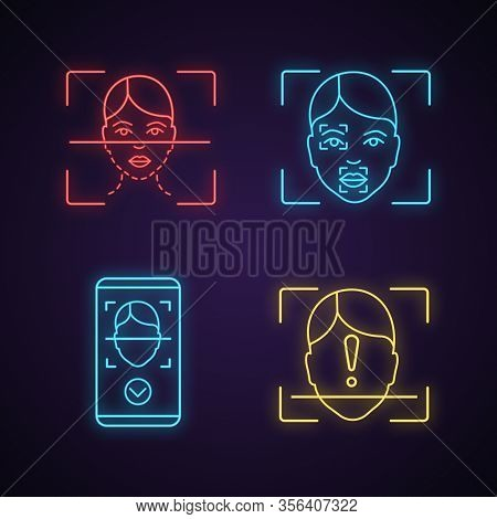 Facial Recognition Neon Light Icons Set. Biometric Identification. Face Scanning Process, Markers, P