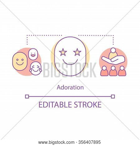 Adoration Concept Icon. Feeling Good Idea Thin Line Illustration. Cute Person. Nice Emotions. Approv