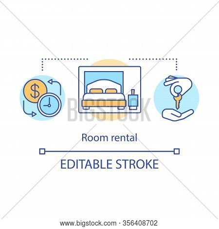 Room Rental Concept Icon. Tenancy Period, Bedroom, Key Hand Over. Hotel Room Reservation, Booking. S