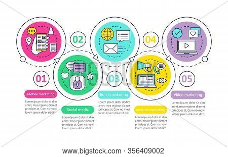 Internet Marketing Vector Infographic Template. Social Media, Mobile, Video, Email, Video Marketing.