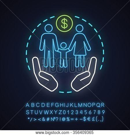 Social Benefits Neon Light Concept Icon. Low Income Financial Assistance Idea. Family Welfare. Socia