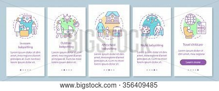 Childcare Service Onboarding Mobile App Page Screen With Linear Concept. In-room, Outdoor, Afterscho