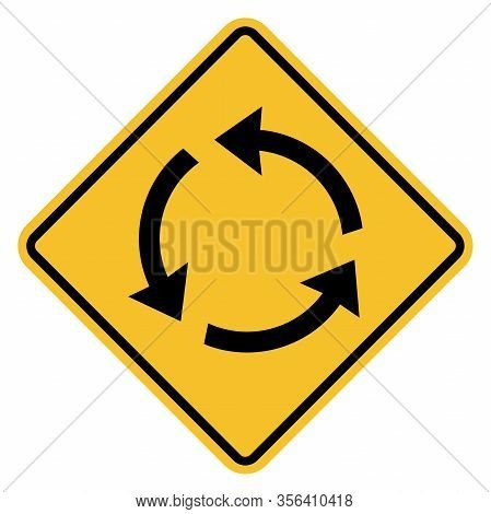 Roundabout Sign. Traffic Rules And Safety. Black On Yellow Background. Perfect For Backgrounds, Busi