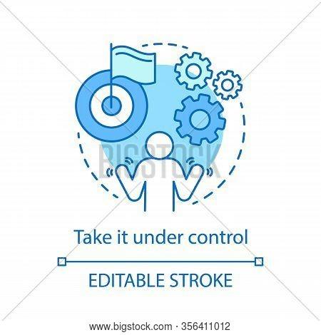Take Under Control Concept Icon. Emotion Restraint Idea Thin Line Illustration. Planned Goal Achieve